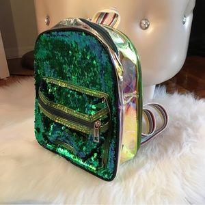 Handbags - Mermaid Green Sequin Backpack w Holo Back